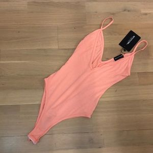 Peach Plunge Strappy Thong Bodysuit